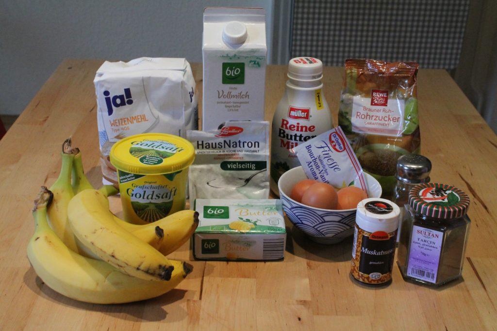 Zutaten für das Bananenbrot