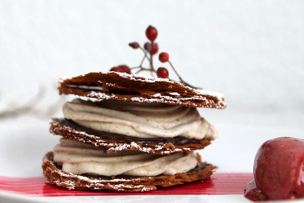 Das perfekte Dinner - Wer ist der Profi - Dessert Jelena: Maronen-Millefeuille mit Hagebutten-Sorbet